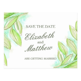 Simple watercolor spring leaves save the date card postcard