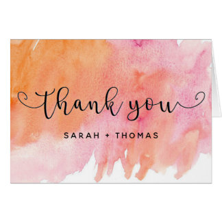 Simple Watercolor Thank You Note Card