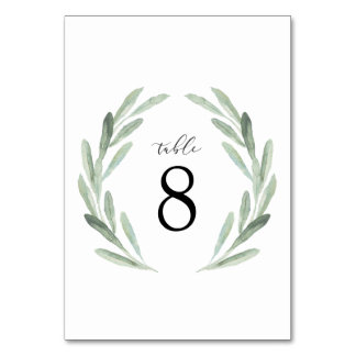 Simple Watercolor Wreath Greenery Wedding Table Card