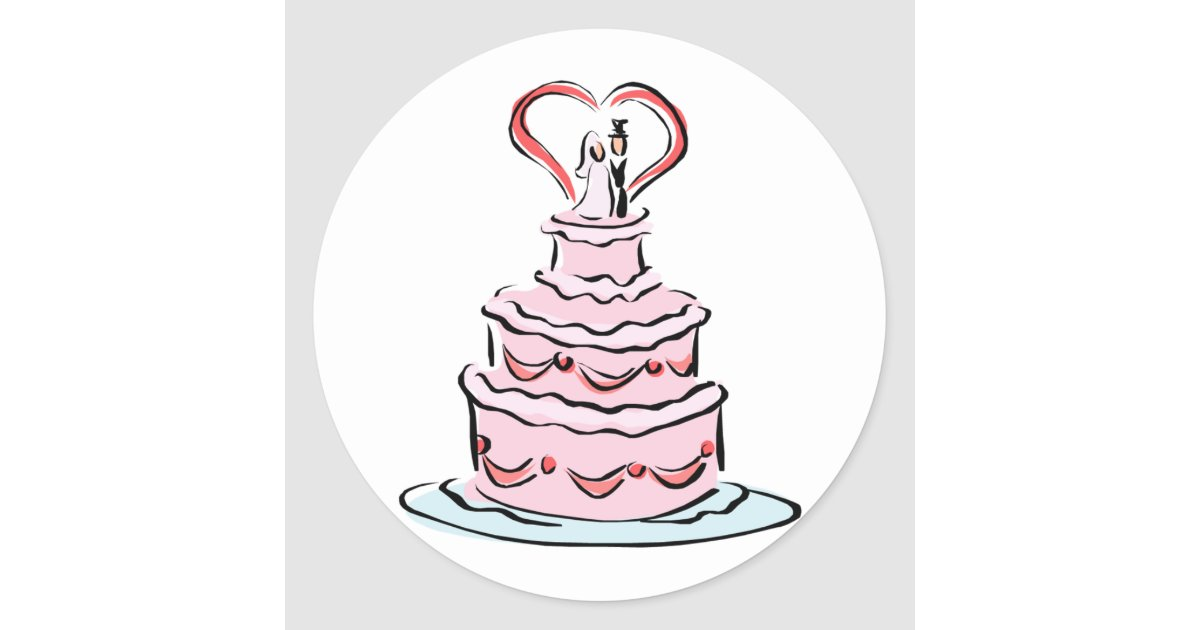wedding cake bag stickers simple wedding cake classic sticker zazzle ca 21785
