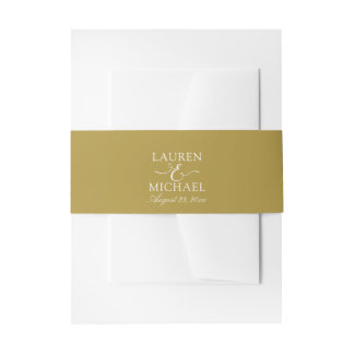 Simple Wedding Invitation Belly Band / Wrap   Gold