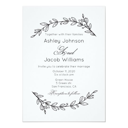 Simple wedding invitation. Black and white floral Card