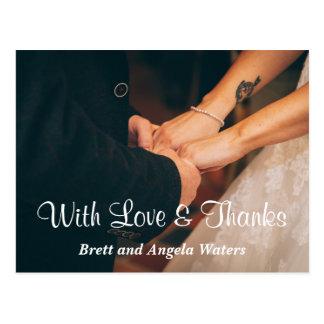 Simple Wedding Photo Love & Thanks Postcard