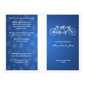 Simple Wedding Program Tandem Bike Blue Full Color Flyer