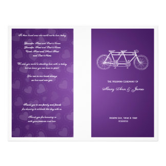 Simple Wedding Program Tandem Bike Purple Custom Flyer