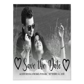 Simple wedding save date black hearts script photo magnetic card