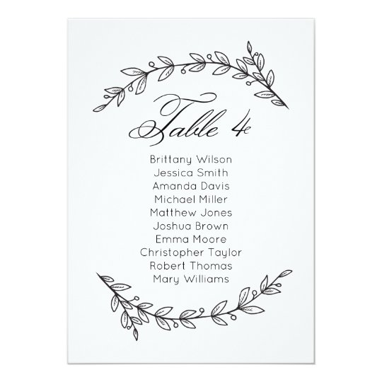 Simple wedding seating chart floral. Table plan 4 Card