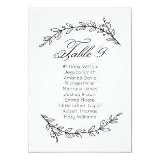 Simple wedding seating chart floral. Table plan 9 Card