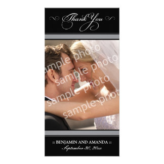 Simple Wedding Thank You Photocard (black) Personalized Photo Card