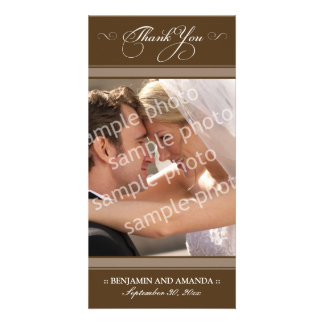 Simple Wedding Thank You Photocard (chocolate) Photo Card Template