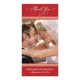 Simple Wedding Thank You Photocard (cranberry) Card