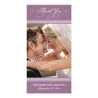 Simple Wedding Thank You Photocard (lavender) Customized Photo Card