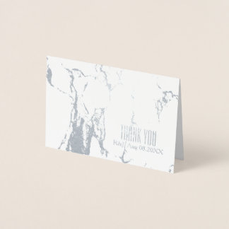 Simple Wedding White Marble Thank You Foil Card