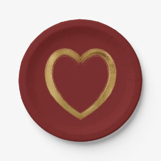 SImple Whimsy Gold Brush Stroke Valentine Love Paper Plate