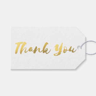 Simple White and Faux Gold Foil Thank You Gift Tags