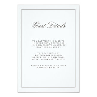 "Simple White and Gray Wedding Guest Information 3.5"" X 5"" Invitation Card"