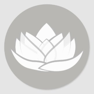 Simple White and Grey Grey Lotus Flower Sticker