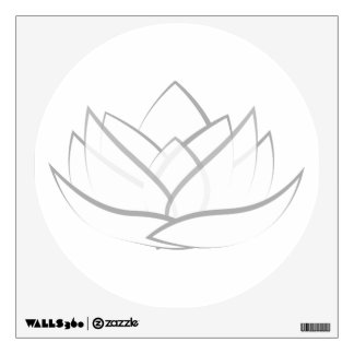 Simple White and Grey Lotus Flower Wall Decal