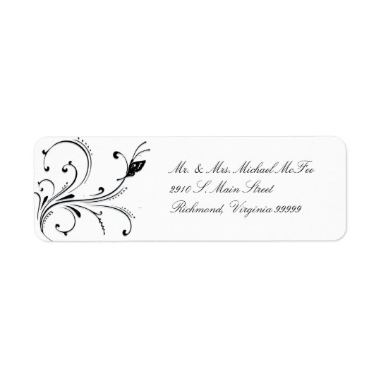 Simple White Black Butterfly Scroll Avery Label