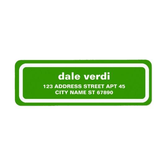 Simple White Border Return Address Label, Green
