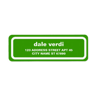 Simple White Border Return Address Label, Green Return Address Label