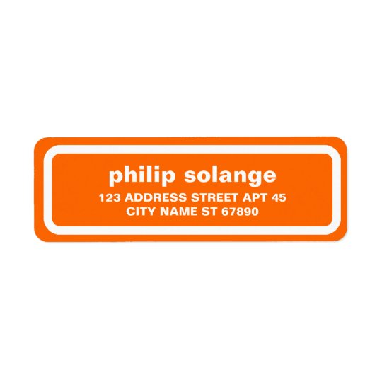 Simple White Border Return Address Label, Orange