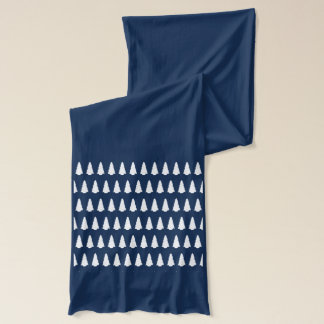 Simple White Christmas Tree Silhouette on Navy Scarf