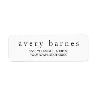 Simple White Creative Professional Modern Return Address Label