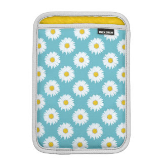Simple White Daisy on Blue Pattern Sleeve For iPad Mini