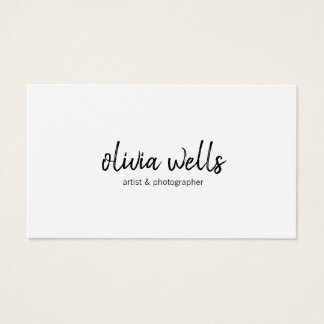 Simple White  Handwritten Script Calligraphy Business Card