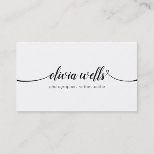 Business cards profile cards zazzle ca simple white handwritten script calligraphy business card reheart Image collections