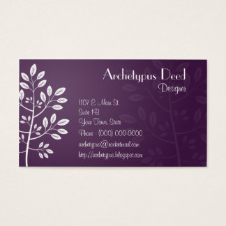 Simple White Leaves Business Card