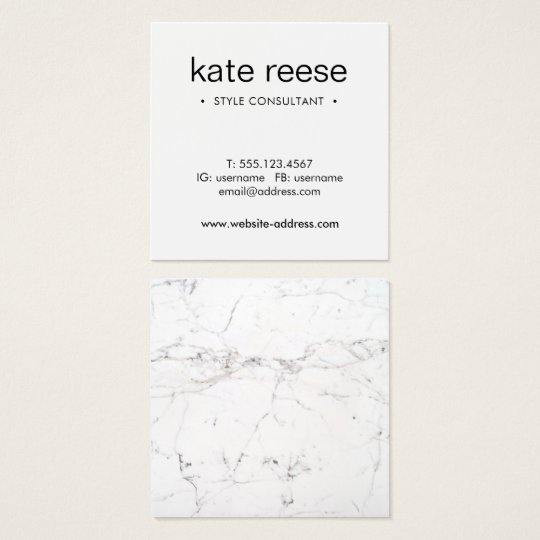 Simple White Marble Professional Square Business Card