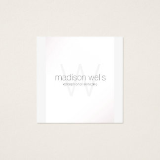 Simple White Monogram Professional Beauty Square Business Card
