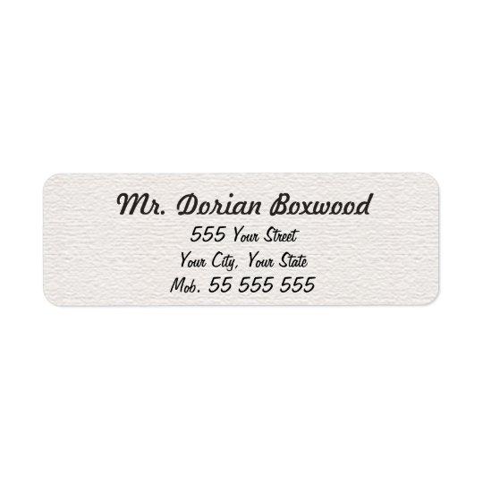 Simple White Structure Black Name Return Address Label