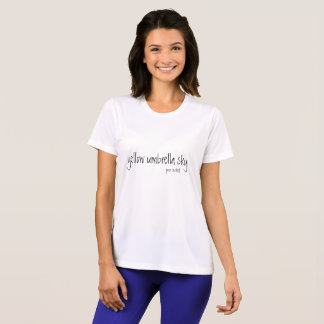 simple white t-shirt with saying