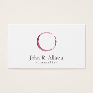 Simple Wine Stain Sommelier Business Card