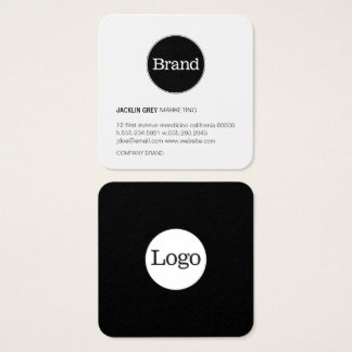 Simple with Logo (slate grey) Square Business Card