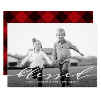 Simple Word Holiday Photo Card BLESSED
