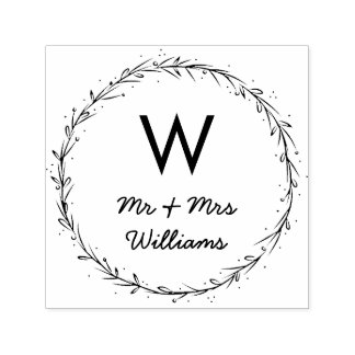 Simple Wreath - Mr & Mrs Monogram Self-inking Stamp