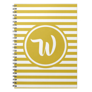 Simple Yellow and White Stripes Striped Initials Notebook