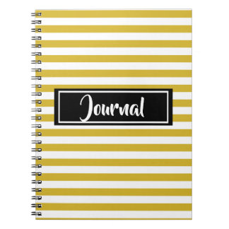 Simple Yellow and White Stripes Striped Journal