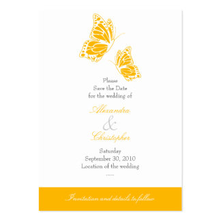 Simple Yellow Butterfly Save The Date Wedding Mini Business Card Templates