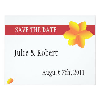 "Simple Yellow Flower Illustrated Save the Date 4.25"" X 5.5"" Invitation Card"