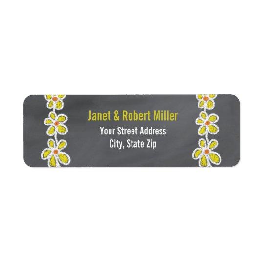 Simple Yellow Flowers Pattern On Chalkboard Return Address Label