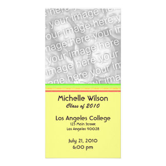 simple yellow pink green graduation personalized photo card