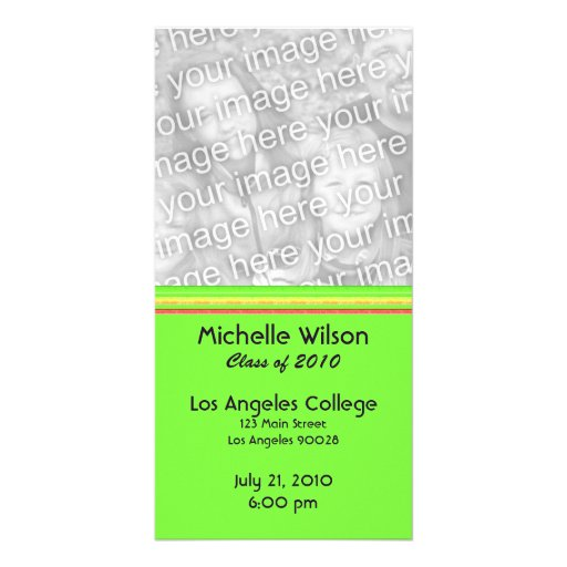 simple yellow pink green graduation photo cards