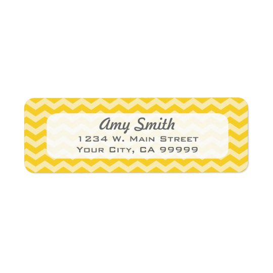 Simple Yellow Zigzag Stripes Return Address Label