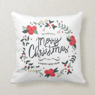 Simple yet Elegant Christmas Wreath | Throw Pillow