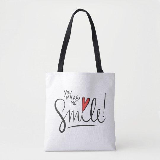 Simple yet Pretty You Make Me Smile Tote Bag